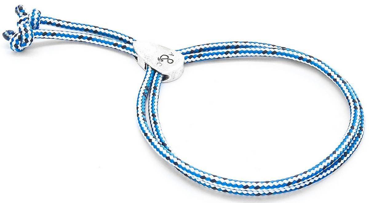 Anchor and Crew Pembroke Silver and Rope Bracelet - Blue Dash
