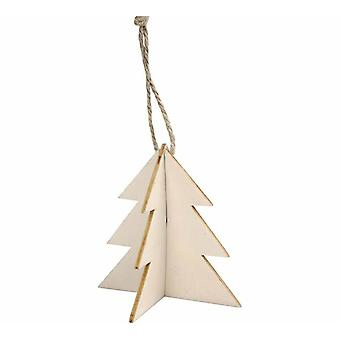 SALE - 3 Interlocking Two Part Wooden Hanging Christmas Tree Decorations - 7.5cm