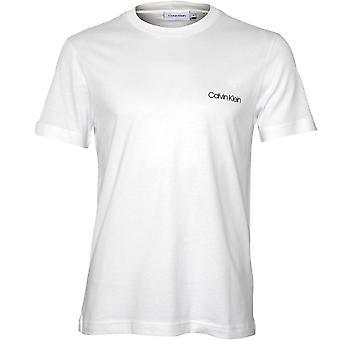 Calvin Klein Brust Logo-t-Shirt mit Rundhalsausschnitt, Calvin White