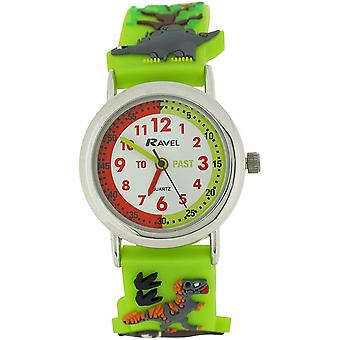Ravel Time Teacher Boys 3D Jungle Design Strap Watch +Telling Time Award