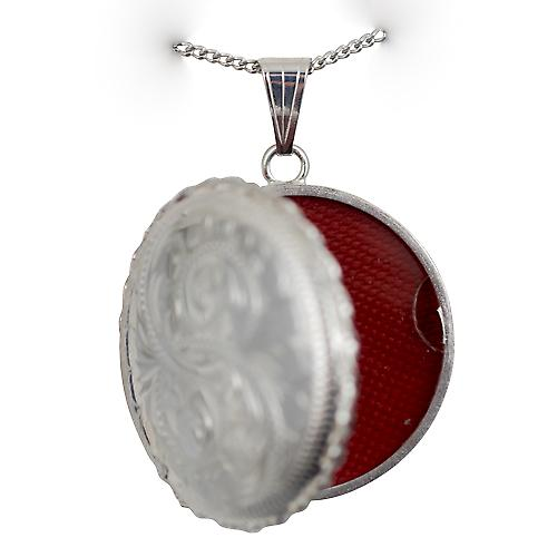 Silver 31mm round hand engraved twisted wire edge Locket with a curb chain