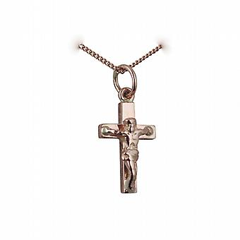 9ct Rose Gold 17x10mm solid block Crucifix Cross with a curb Chain 24 inches