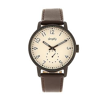 Simplify The 3400 Leather-Band Watch - Gunmetal/Dark Brown
