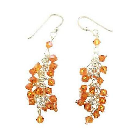 Swarovski Copper Saprkling Bunches Crystals Beads Chandelier Earrings