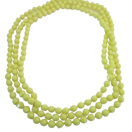 Dainty Multi Faceted Beautiful Yellow Beads Long Necklace 64 Inches