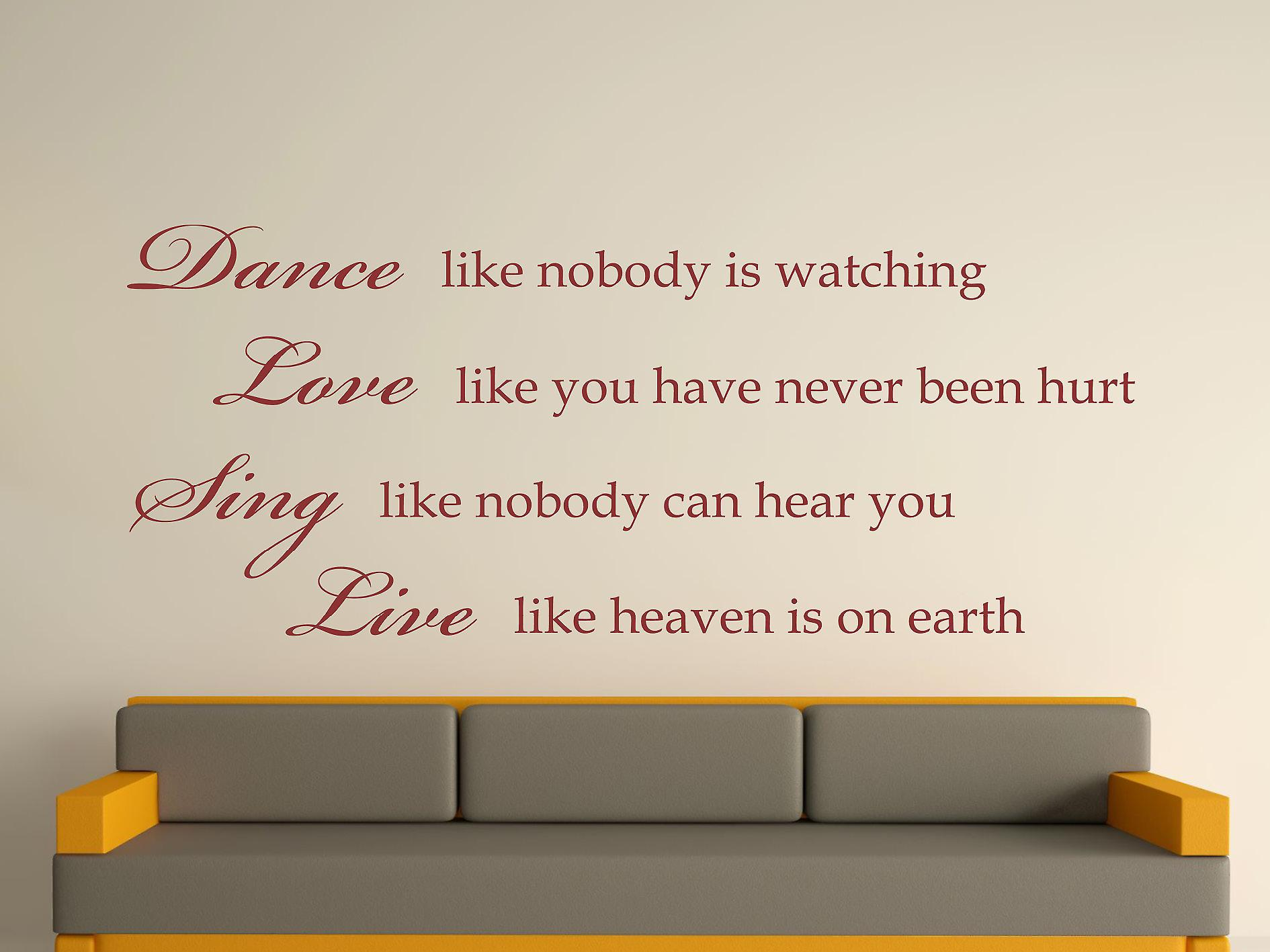 Dance Like Nobody Is Watching Wall Art Sticker - Burgundy
