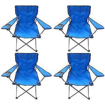 4 ブルー ・ ブラック軽量折り畳みキャンプ ビーチ船長椅子