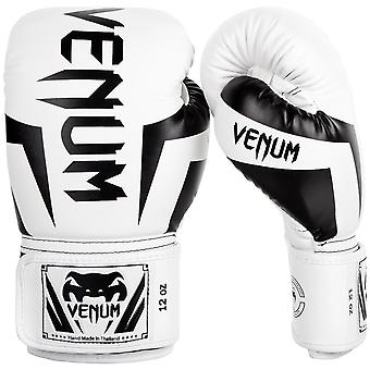 Guanti di allenamento di boxe MMA Venum Elite Hook e Loop - bianco/nero