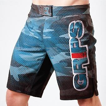 Grips Athletics Mens Carbon Army Fight Shorts - Blue