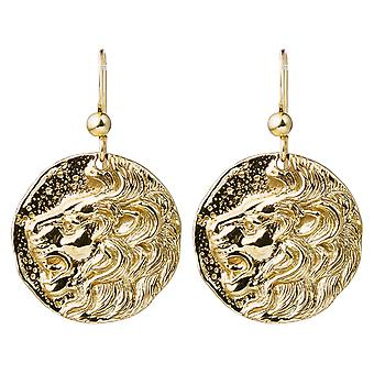 Gemshine Ohrringe Münzen Ohrhänger LÖWE Lion in 925 Silber, vergoldet oder rose