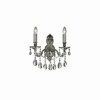 Ideal Lux - Gioconda Antique Silver Finish Wall Light With Crystals IDL044910