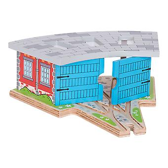 Bigjigs Rail Wooden Triple Engine Shed Turntable Train Track Set Railway