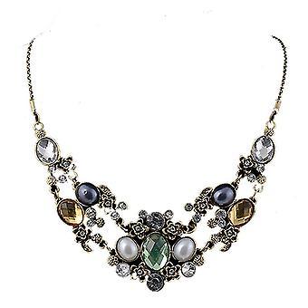 Ladies farverige chunky stil juvel erklæring Swarovski krystal bib halskæde