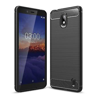 Nokia 1 plus TPU geval Carbon Fiber Optics geborsteld bescherming geval grijs