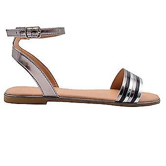 Gouden teen Damesmode sandalen metallic enkelband flats