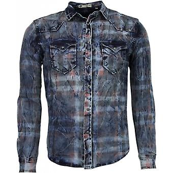 Denim shirt-Slim Fit long sleeves men-color Print-Blue