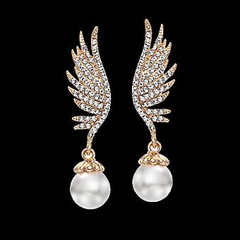 14K Gold Plated Wing Simulated Pearl Drop Earrings