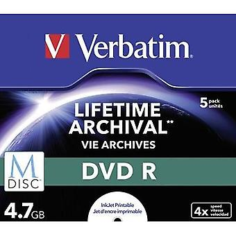 Blank M-Disc DVD 4.7 GB Verbatim 43821 5 pc(s) Jewel case Printable