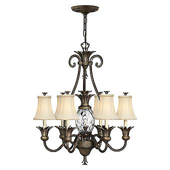 Plantation Traditional 7 Arm Chandelier with Ivory Silk Shades