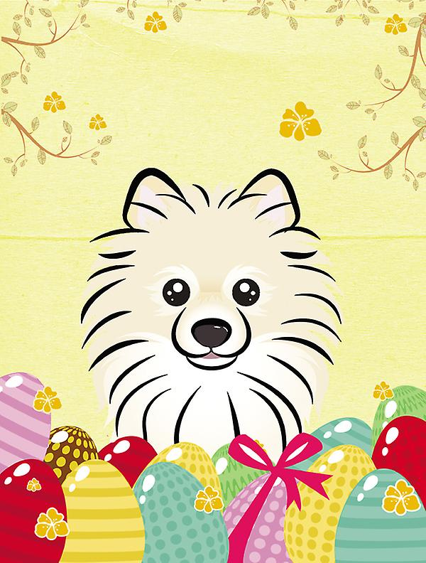 Pomeranian Easter Egg Hunt Flag Canvas House Size BB1889CHF