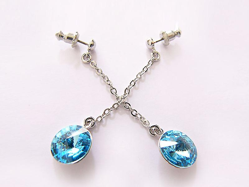 Light blue Crystal drop earrings EMB 14.2