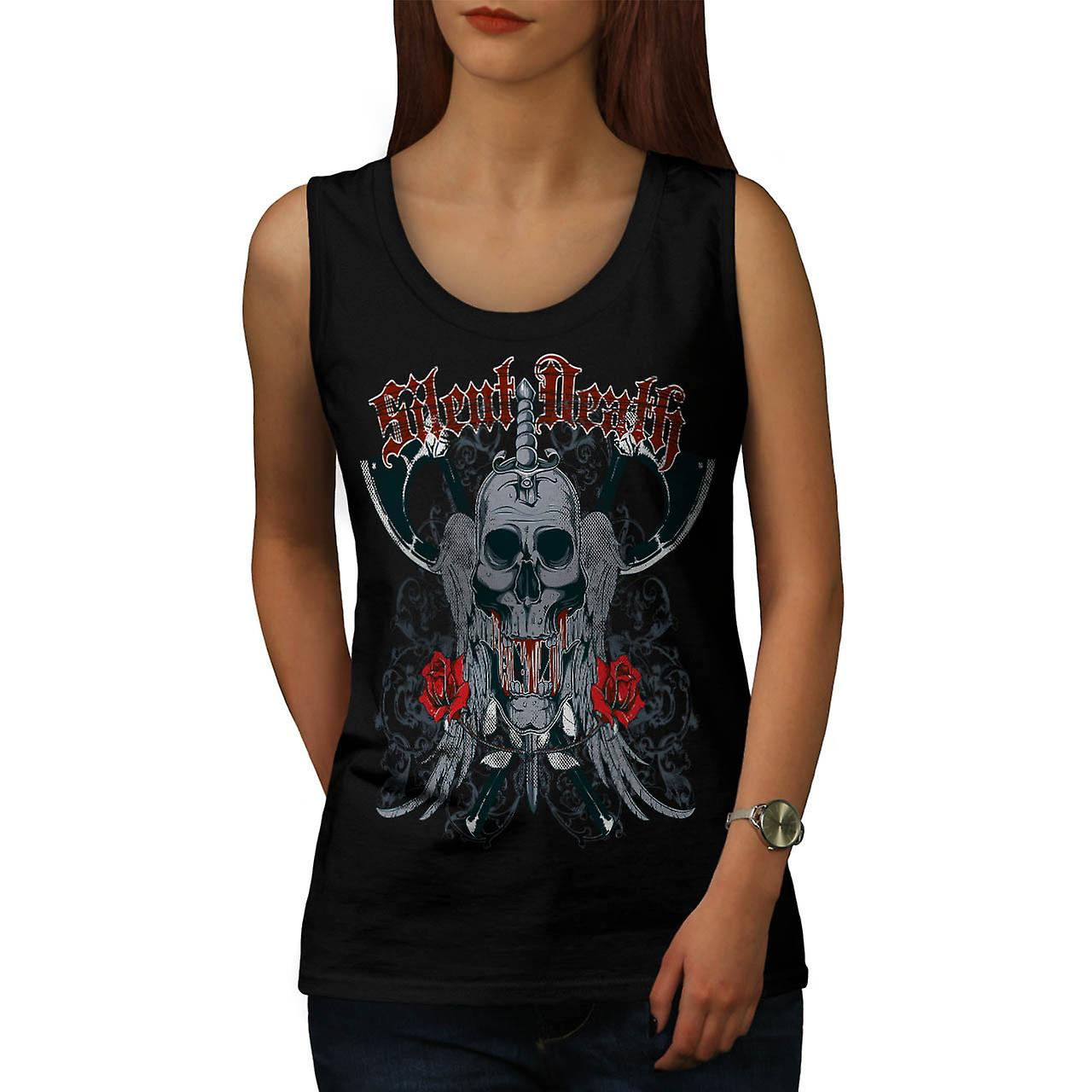 Silent Death Horror Skull Rage Women Black Tank Top | Wellcoda
