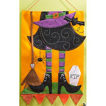 Witch Wall Hanging Felt Applique Kit-15
