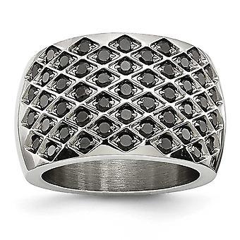 Zwarte Cubic Zirconias gepolijst Ring in edelstaal - Ringmaat: 6 tot en met 8