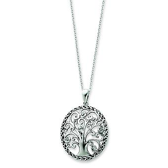 Sterling Silver Antiqued CZ Necklace - 18 Inch