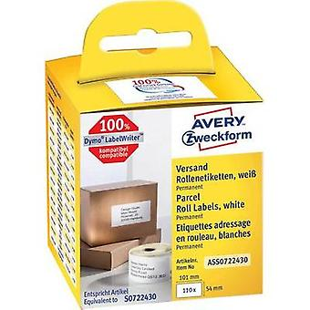 Avery-Zweckform Labels (roll) 89 x 36 mm Paper White 520 pc(s) Permanent AS0722400 Address labels