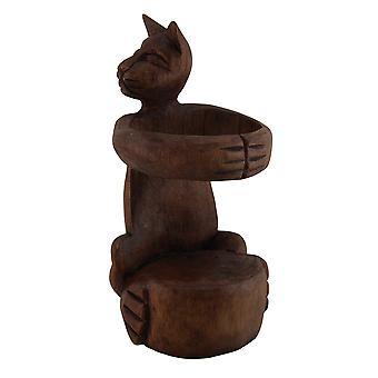 Kitty Cuddle main sculptée en bois étreignant chat porte-bouteille vin