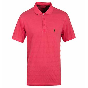Luke 1977 Jive Marina Red Textured Stripe Short Sleeve Polo Shirt