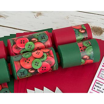 8 Red & Green Christmas Buttons Make Your Own Festive Crackers Kit