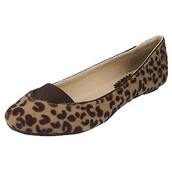 Ladies Spot On Fur Elasticated Gusset Vamp Ballerina