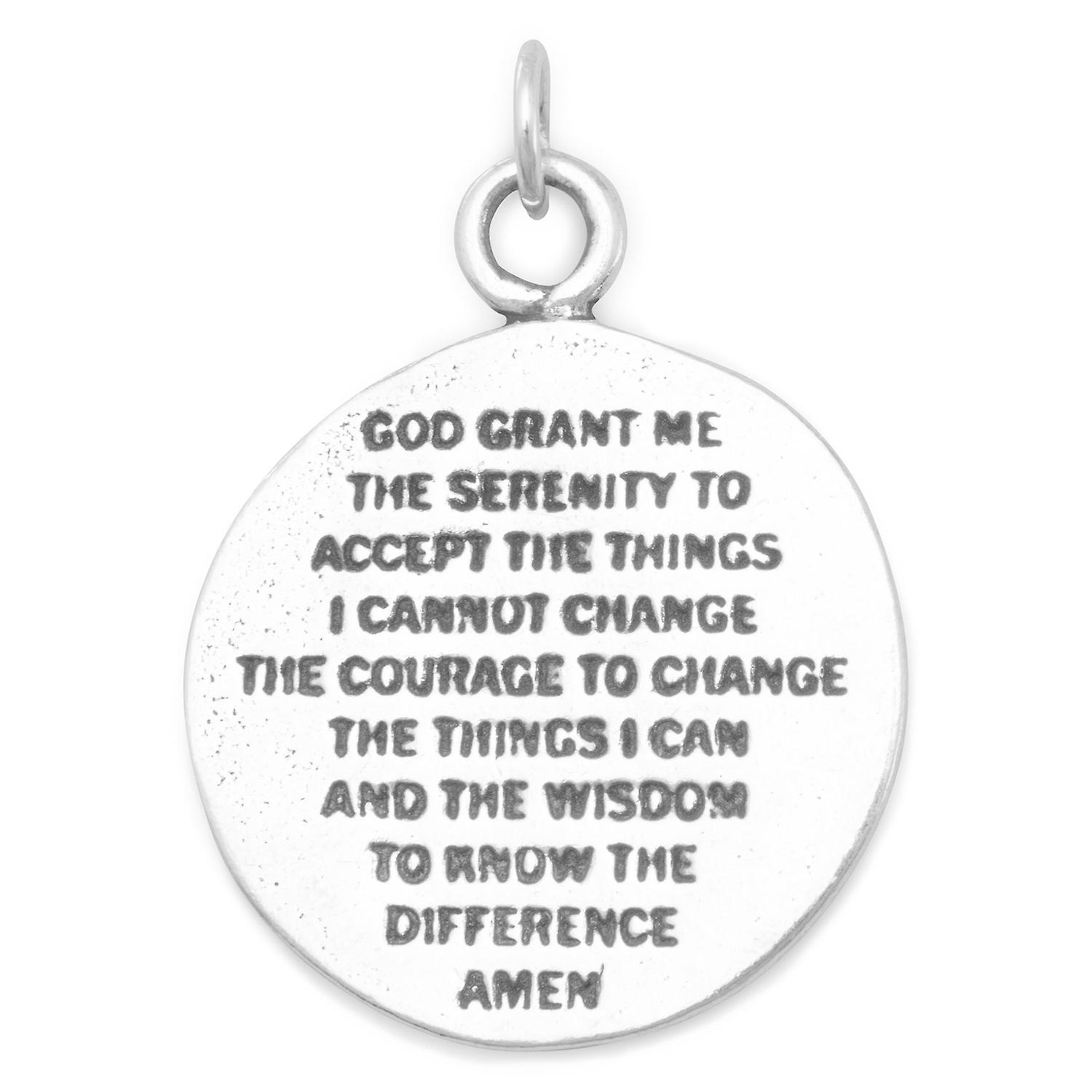 925 Sterling Silver Reversible Charm With Praying Hands And Serenity Prayer