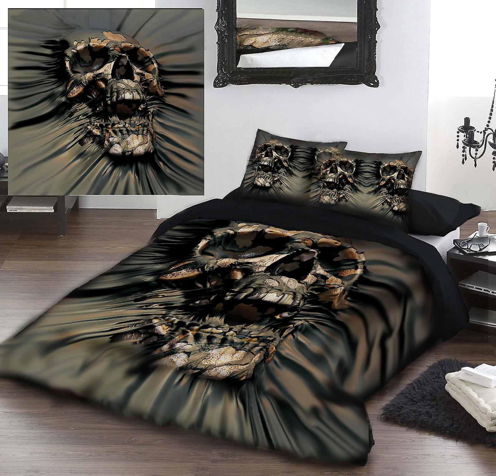 Skull rip through - duvet & pilFaible covers case set superkingTaille bed  art by david penfound