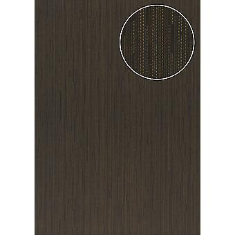 Noble University wallpaper Atlas COL-497-1 non-woven wallpaper smooth with stripes shimmering anthracite grey blue bronze 5.33 m2