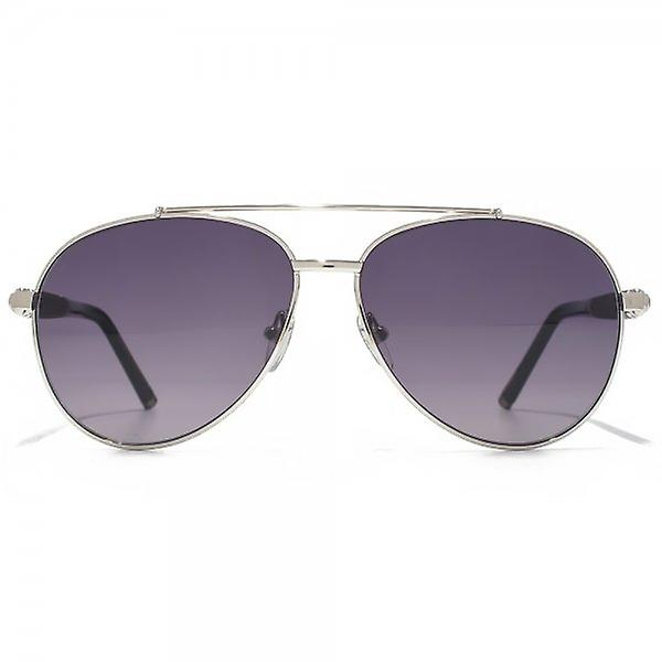 Montblanc Wooden Temple Aviator Sunglasses In Silver