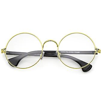 Klassiske slanke Metal Frame klar linse runde briller 53mm