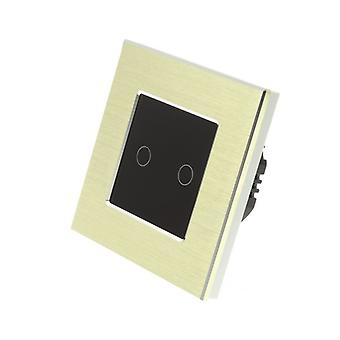 I LumoS Gold Brushed Aluminium 2 Gang 1 Way WIFI/4G Remote & Dimmer Touch LED Light Switch Black Insert