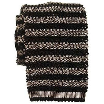 KJ Beckett Thin Striped Silk Knitted Tie - Black/Grey