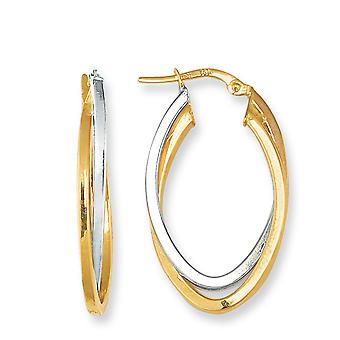 14K Yellow And White Gold Oval Shape Two Tone Double Row Hoop Earrings