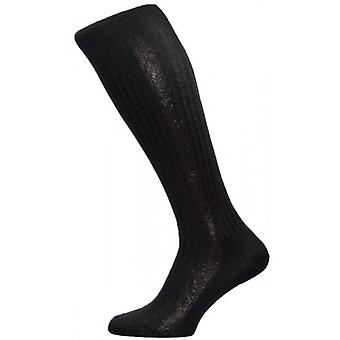 Pantherella Baffin Rib Over the Calf Silk Socks - Black