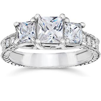 2ct Vintage Three Stone Princess Cut Diamond Engagement Ring 14K White Gold