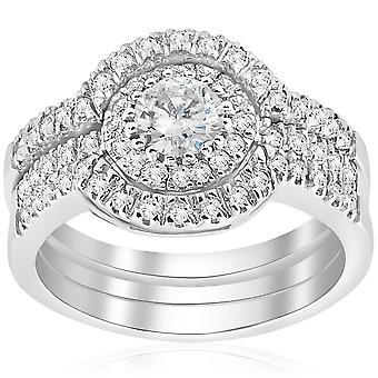 2CT tour amélioré Diamond Engagement Halo anneau de mariage Trio Set 14K or blanc