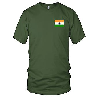 Nationalflagge Indien Land - Stickerei Logo - 100 % Baumwolle T-Shirt Herren T Shirt