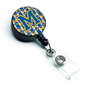 Letter M Football Blue and Gold Retractable Badge Reel
