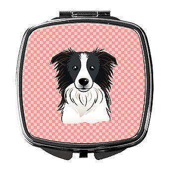 Carolines Schätze BB1241SCM Schachbrett rosa Border Collie Taschenspiegel