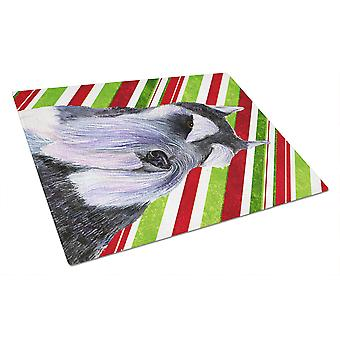 Schnauzer Candy Cane Holiday Christmas Glass Cutting Board Large