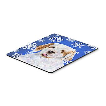 Clumber Spaniel Winter Snowflakes Holiday Mouse Pad, Hot Pad or Trivet